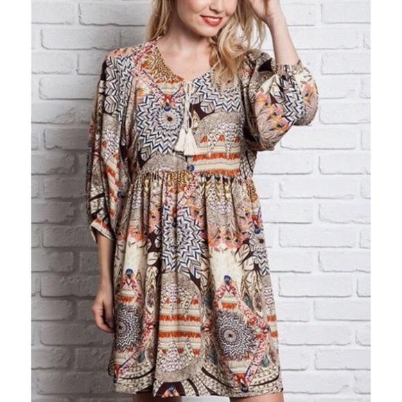 Umgee Boho Babydoll Patchwork Dress